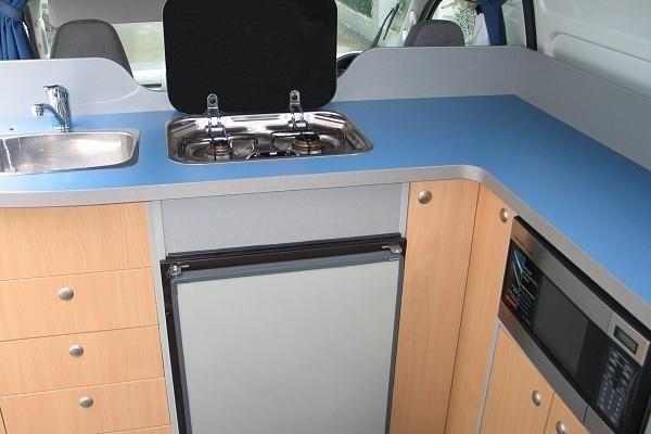 Camperman Paradise Hi-Top 5 Berth Kitchen Interior - RV Rental Sydney - Campervan Rental Shop