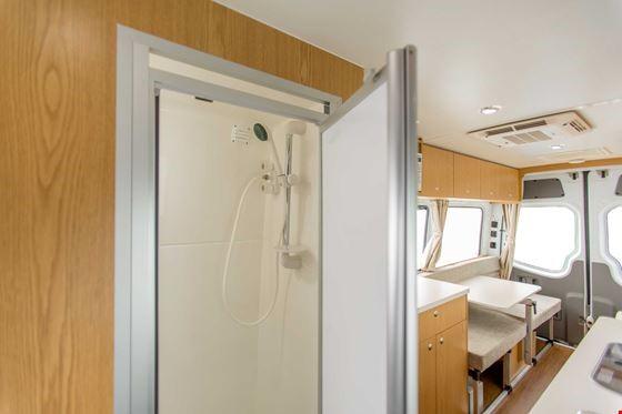 Euro Tourer Shower Area - RV Rental Canberra - Campervan Rental Shop