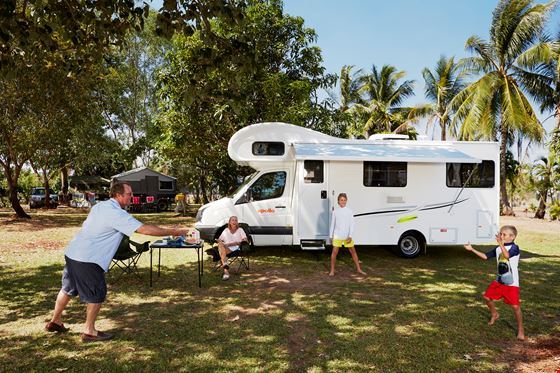 Father and Son Playing Frisbee - Motorhome Rental Canberra - Campervan Rental Shop