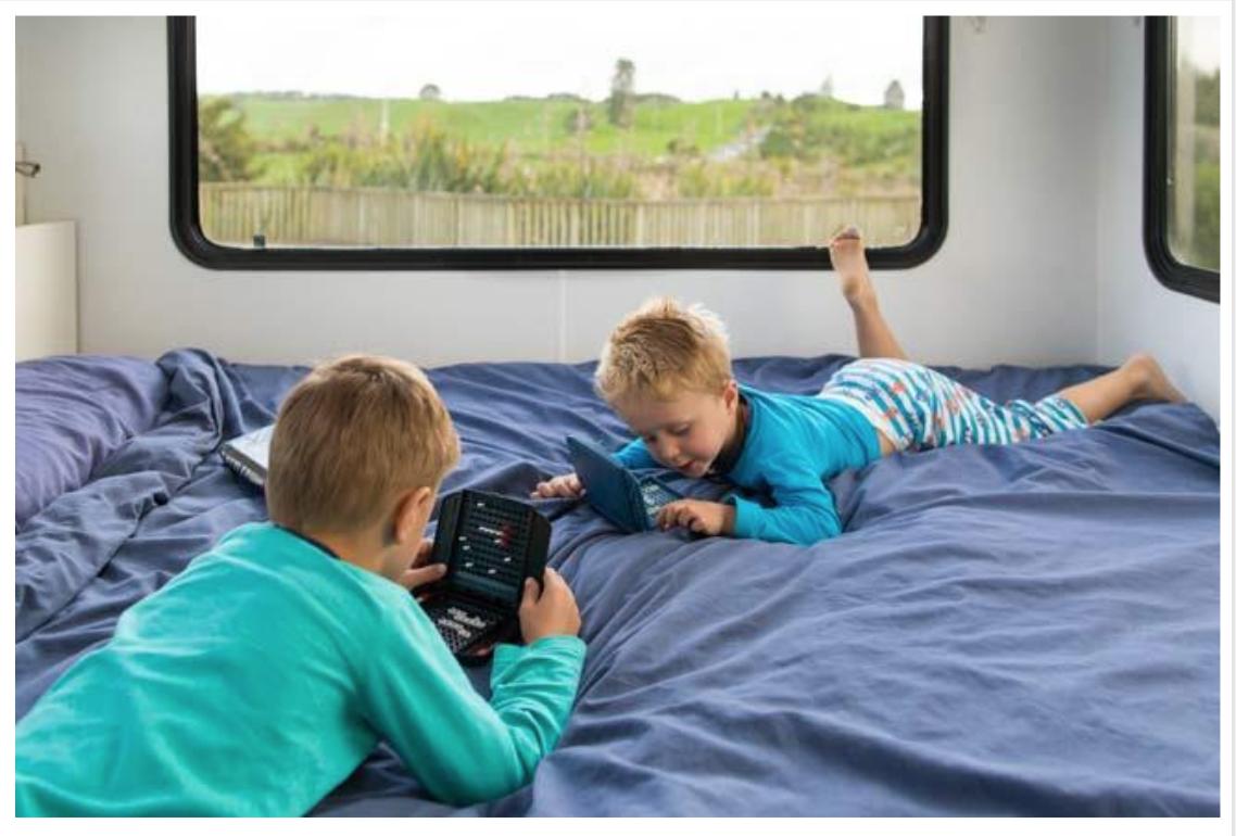 Kids Playing on the Bed - Port Adelaide campervan hire - Campervan Rental Shop