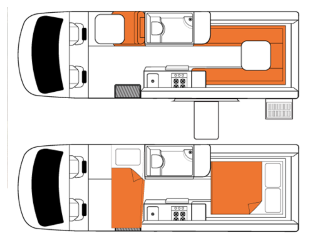 Britz Venturer Plus Floor Plan - RV Hire Canberra - Campervan Rental Shop