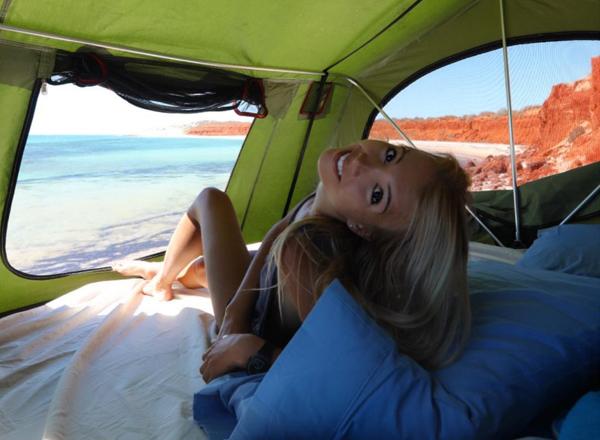 Woman Leaning Back - Camper Hire Broome - Campervan Rental Shop