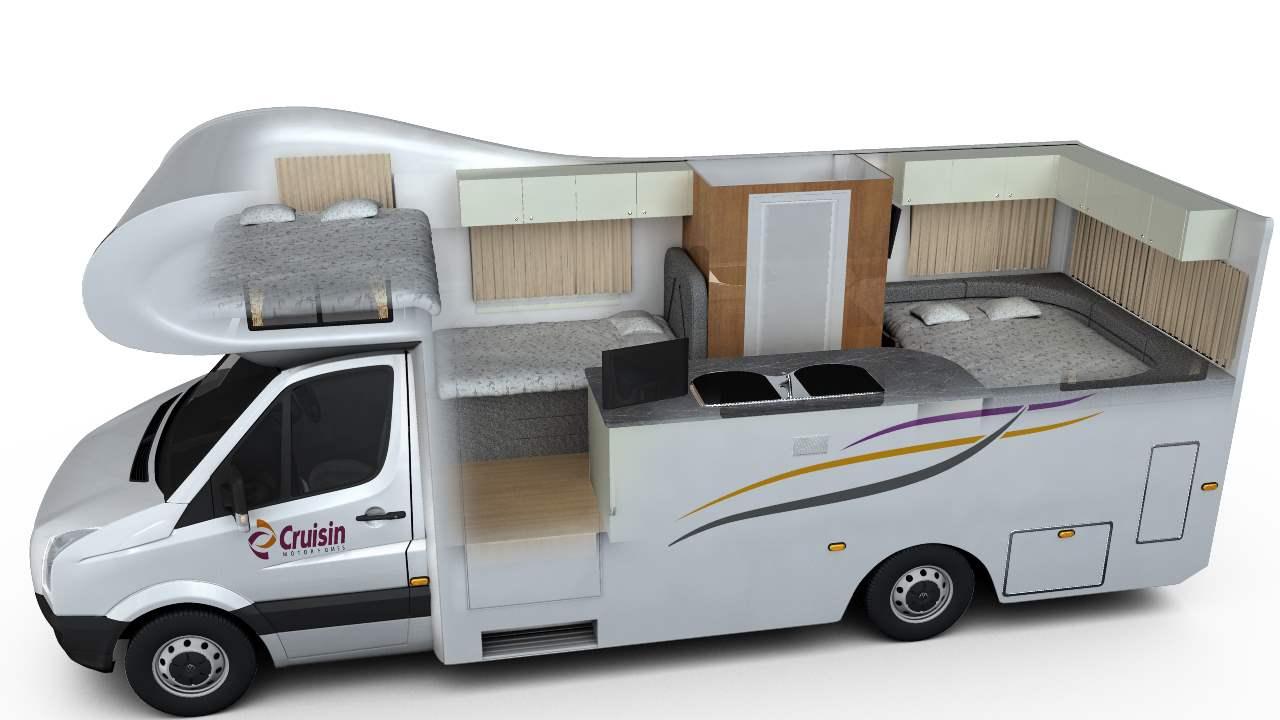 Cruisin Discovery Interior Plan - RV Rental Canberra - Campervan Rental Shop