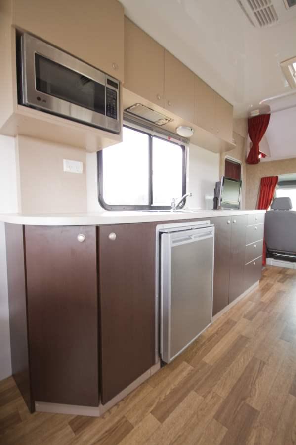 Cruisin Discovery Kitchen Interior - Motorhome Hire Hobart - Campervan Rental Shop