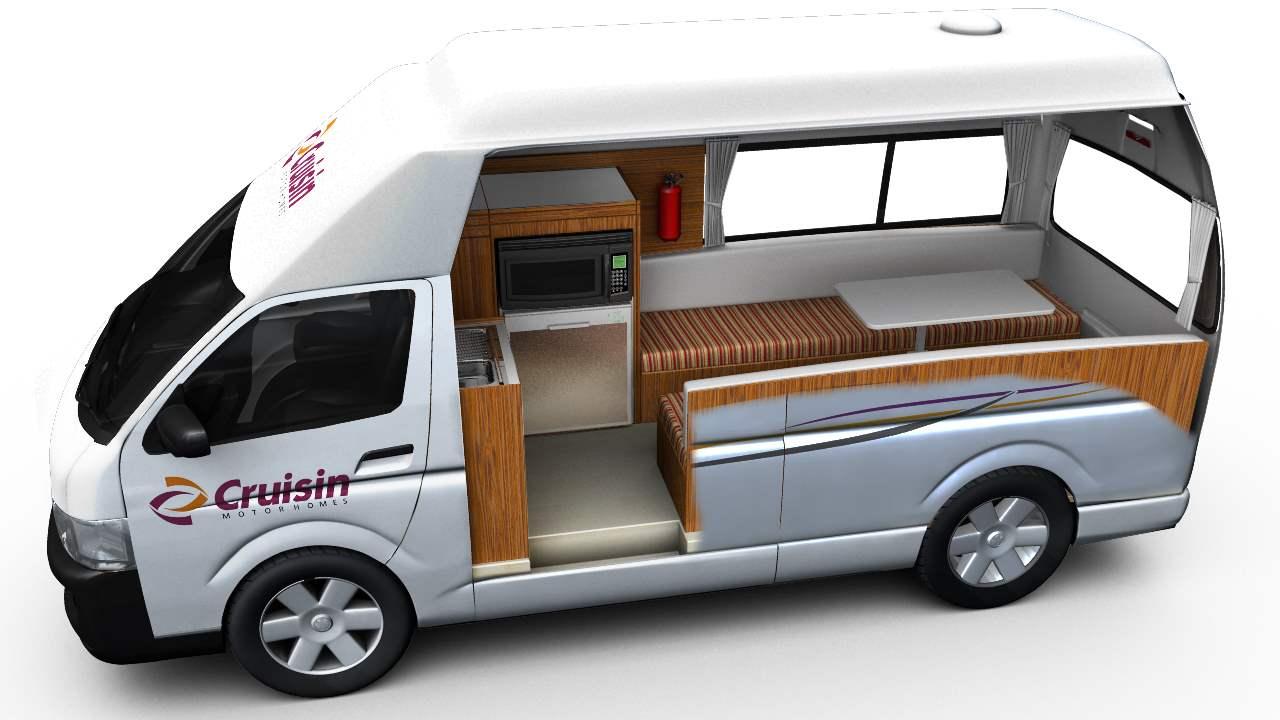 Cruisin Hi-Top Interior Plan - Camper Rental Newcastle - Campervan Rental Shop