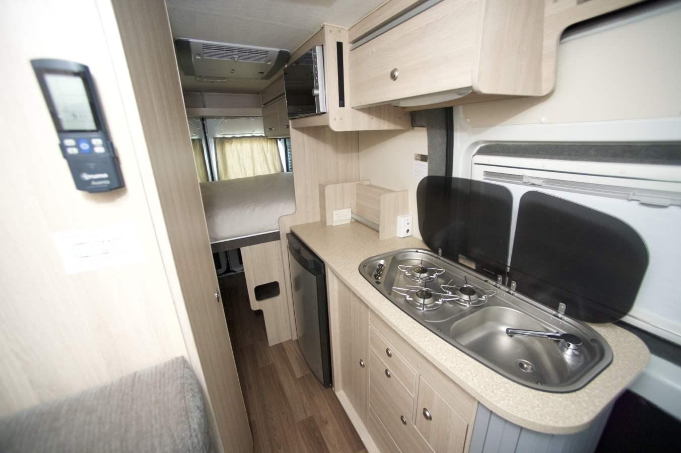 Cruisin Sandpiper Kitchen Interior -RV Hire Hobart - Campervan Rental Shop