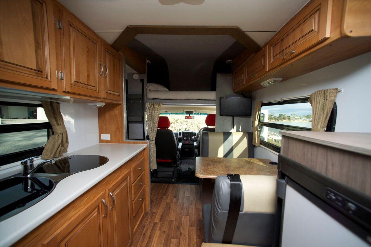 Henty Kitchen Interior - RV Hire Canberra - Campervan Rental Shop