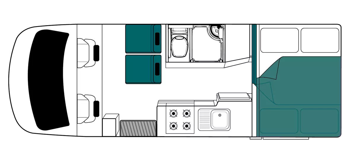 Maui Cascade Floor Plan - Motorhome Rental Hobart - Campervan Rental Shop