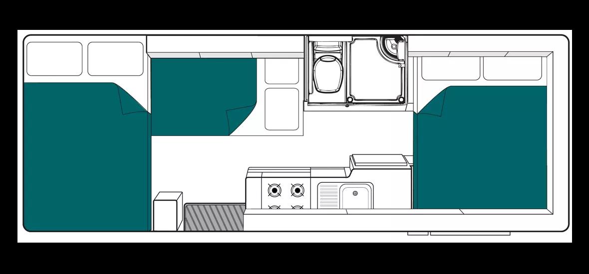 Maui River Floor Plan - Clare Valley campervan hire - Campervan Rental Shop
