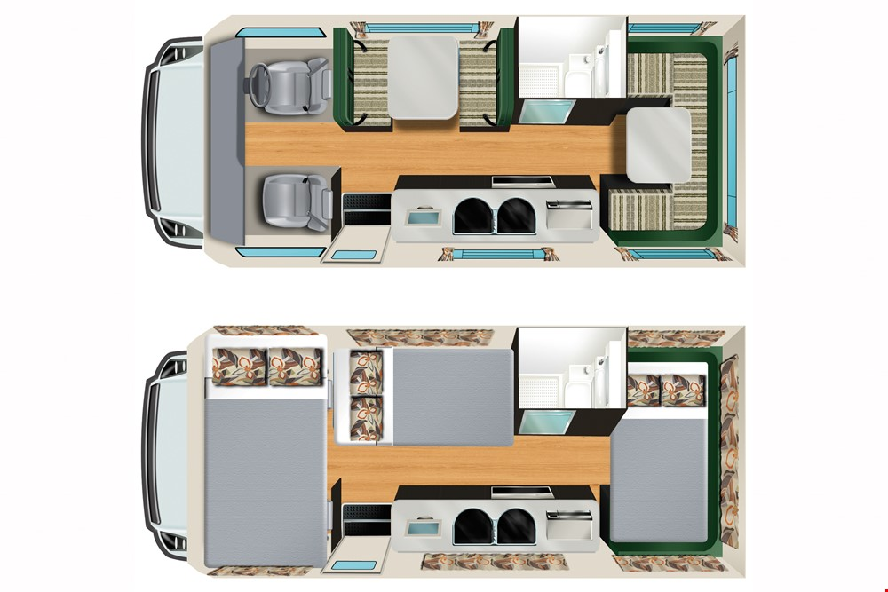 Cheapa 6 Berth Top View Interior Lay out - Port Adelaide campervan hire - Campervan Rental Shop