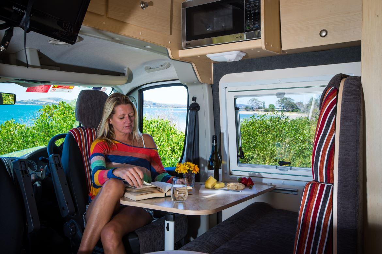 Hertz 2 Berth Dining Area Design - Camper Hire Sydney - Campervan Rental Shop