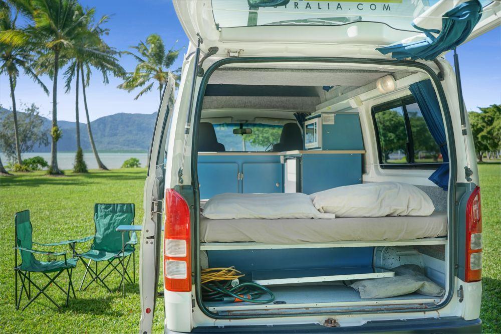 Campervan Back Interior - RV Hire Canberra - Campervan Rental Shop