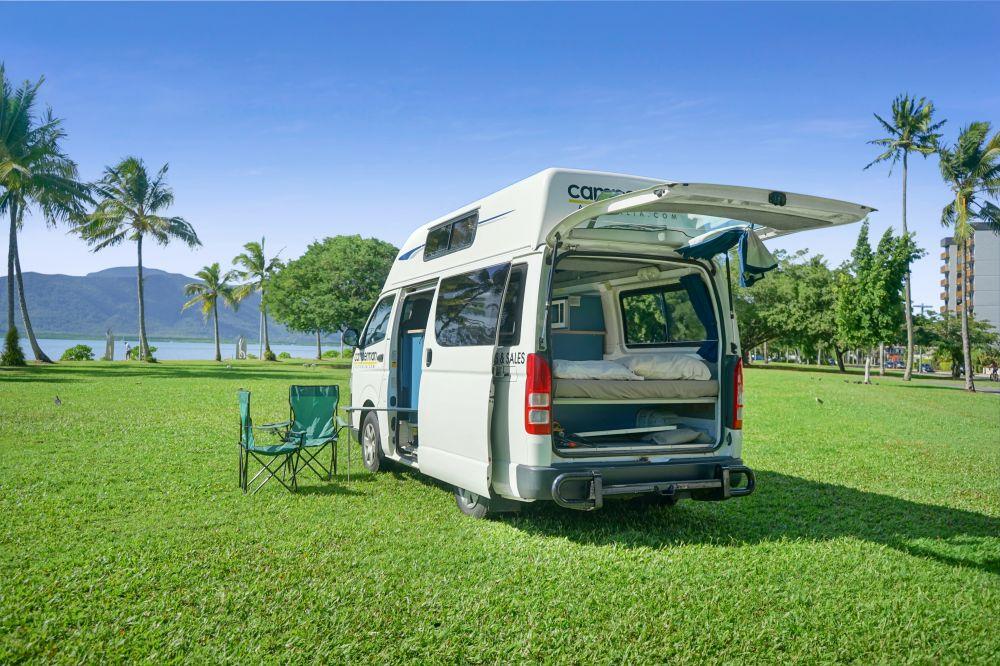 Camperman Maxie Back Interior - Camper Rental Newcastle - Campervan Rental Shop