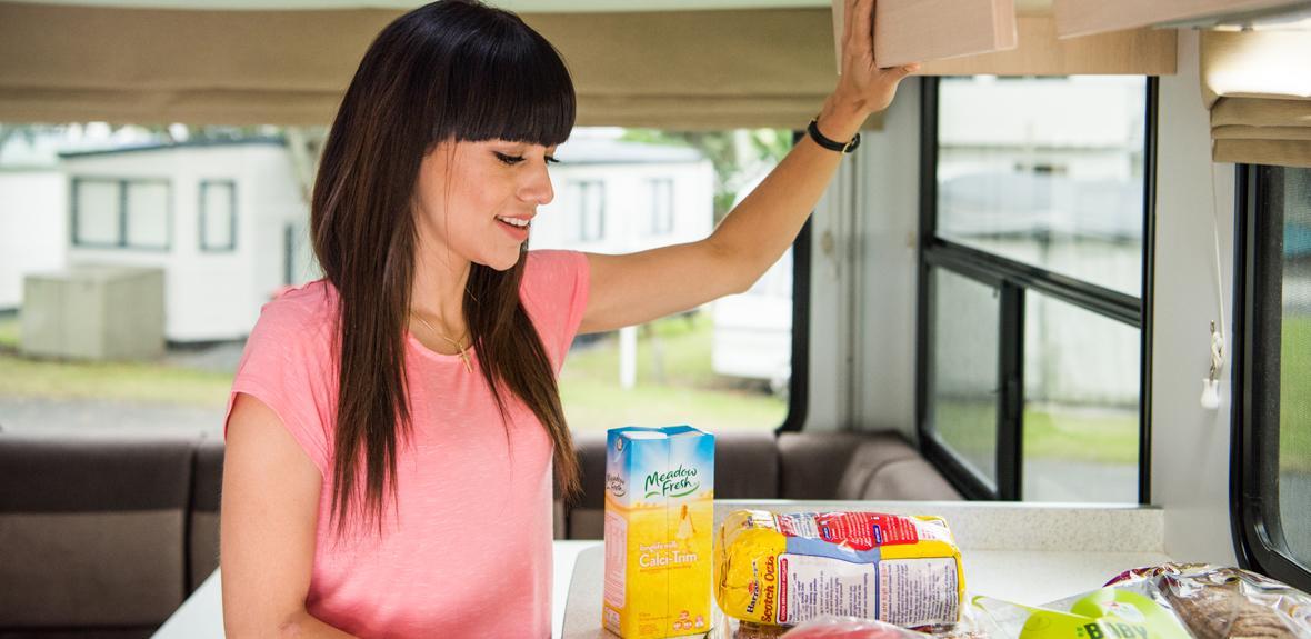 Woman with Food - Campervan Hire Sydney - Campervan Rental Shop
